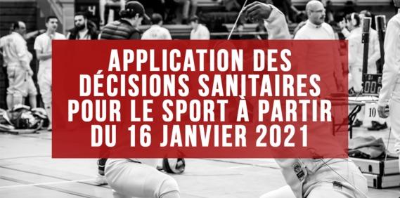 Image article Application des décisions sanitaires pour le sport à partir du samedi 16 janvier